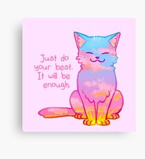"""Your Best Is Enough"" Sunset Cat Canvas Print"