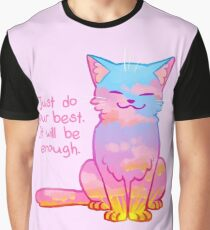 """Your Best Is Enough"" Sunset Cat Graphic T-Shirt"