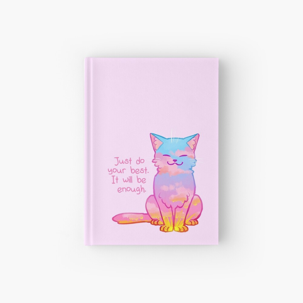 """""""Your Best Is Enough"""" Sunset Cat Hardcover Journal"""