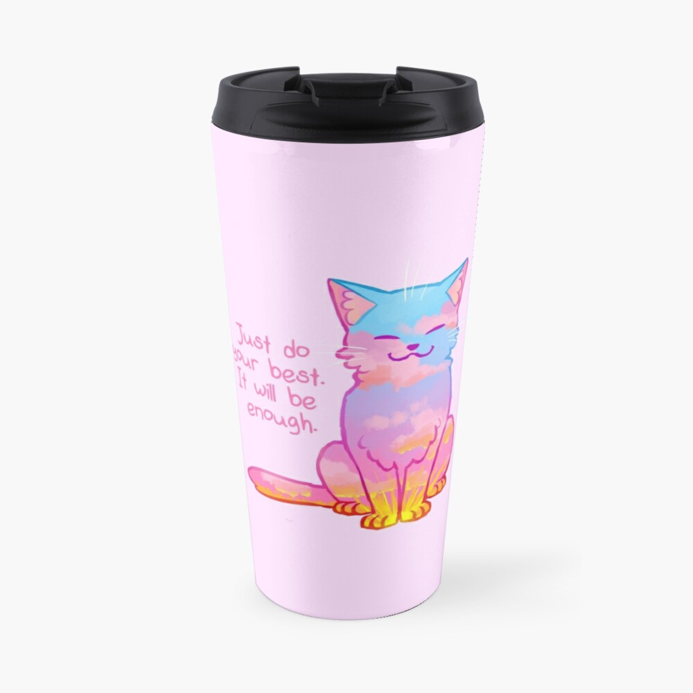"""Your Best Is Enough"" Sunset Cat Travel Mug"