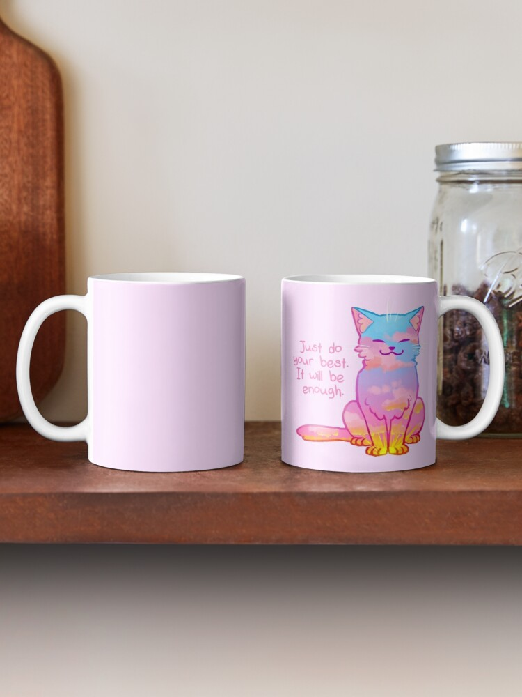 """Alternate view of """"Your Best Is Enough"""" Sunset Cat Mug"""