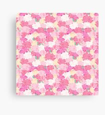 Modern abstract pink white peonies floral pattern Canvas Print