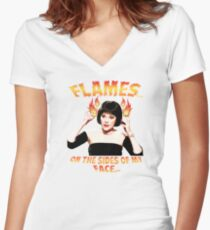Clue Mrs White Flames Women's Fitted V-Neck T-Shirt