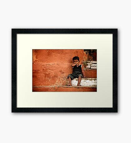 Red Wall Framed Print