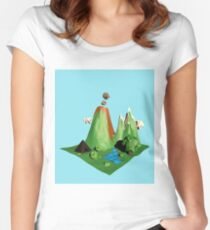 Low poly Landscape Women's Fitted Scoop T-Shirt