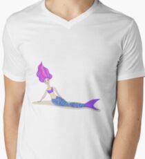 Cute cartoon mermaid in vivid colors  Men's V-Neck T-Shirt