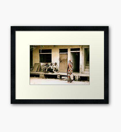 Three Men and a Sari Framed Print