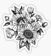 flowers in ink Sticker