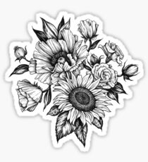 flowers in ink Sticker