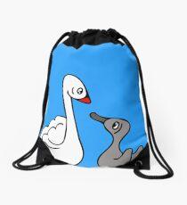 Mama Swan and Cygnet Drawstring Bag