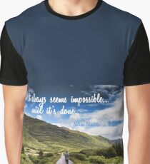 Man on Long Winding Country Road Quote Impossible Until Done Graphic T-Shirt
