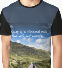 Man on Long Winding Country Road Quote A Journey of a Thousand Miles Begins with Just One Step Graphic T-Shirt