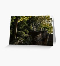 Joyful, Sunny Splashes - a Blue and Yellow Cascade in Montjuic Park, Barcelona, Spain Greeting Card