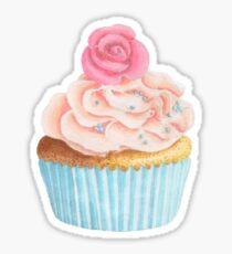 Cupcake sticker, Pink cupcake, frosting, watercolor cupcake, pink  Sticker
