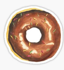 Chocolate donut, dessert, pastry, treat, chocolate, donut, doughnut Sticker