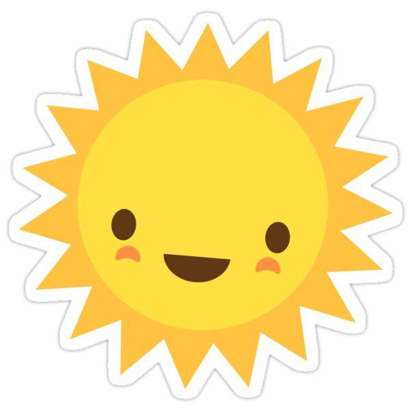 """Cute kawaii sun cartoon character"" Stickers by Mhea ..."