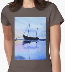 Single Boat Seascape Womens Fitted T-Shirt
