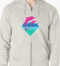 Pink Dolphin Zipped Hoodie