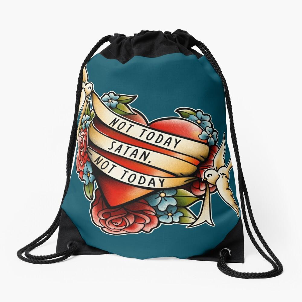 Not Today Satan Drawstring Bag