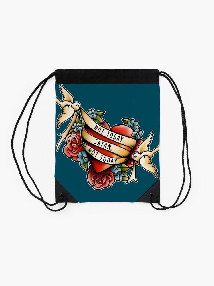 Alternate view of Not Today Satan Drawstring Bag