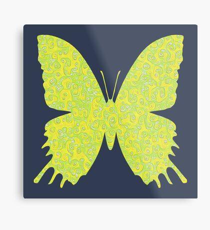 #DeepDream Lemon Lime color Butterfly Metal Print