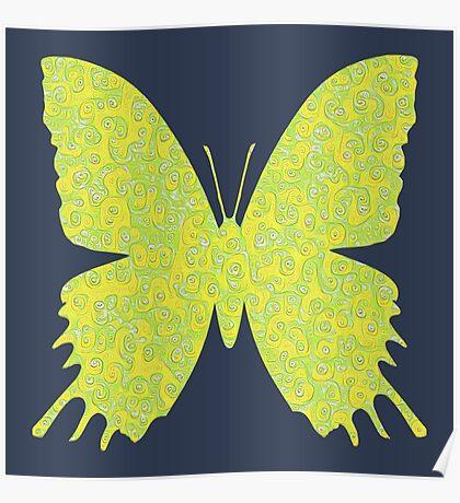 #DeepDream Lemon Lime color Butterfly Poster
