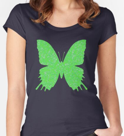 #DeepDream Lime Green color Butterfly Fitted Scoop T-Shirt