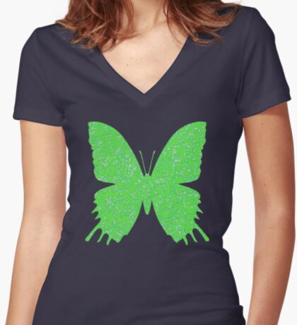 #DeepDream Lime Green color Butterfly Fitted V-Neck T-Shirt
