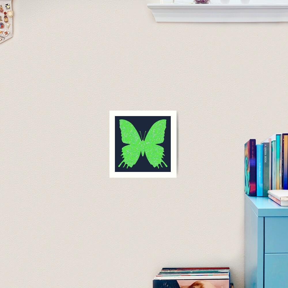 #DeepDream Lime Green color Butterfly Art Print