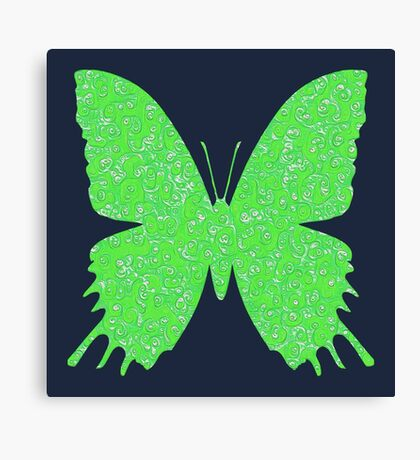 #DeepDream Lime Green color Butterfly Canvas Print