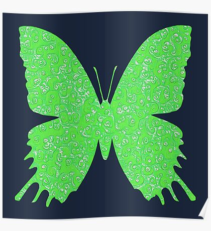 #DeepDream Lime Green color Butterfly Poster