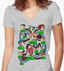 Scott pilgrim relationships Women's Fitted V-Neck T-Shirt