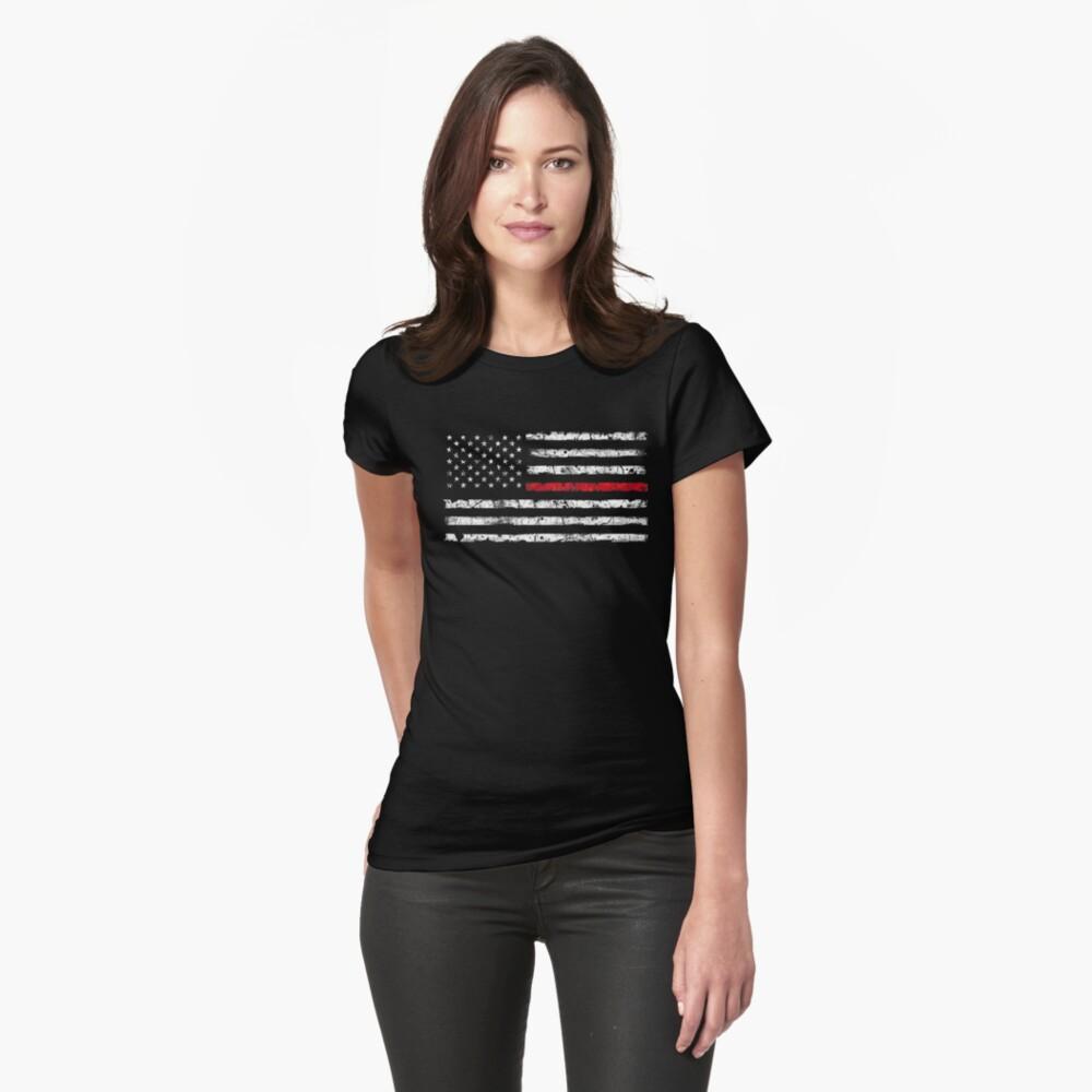 Línea roja (blanca) V2 Camiseta entallada
