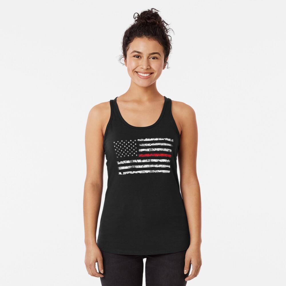 Línea roja (blanca) V2 Camiseta con espalda nadadora