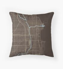 Chicago Map (Autumn) Throw Pillow