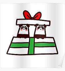 Póster Pandas gemelos de Navidad