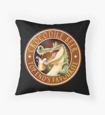 Crocodile Beer Throw Pillow
