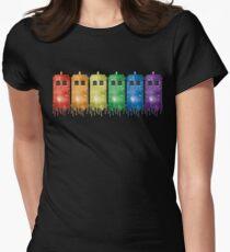 Rainbow Galaxy Tardis Womens Fitted T-Shirt