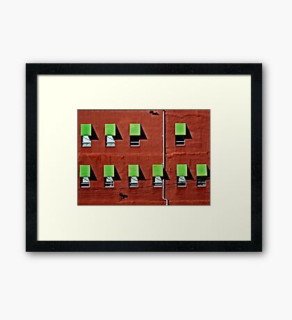 Wall in Red and Green Framed Print