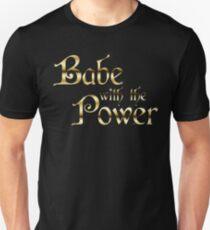 Labyrinth Babe With The Power (black bg) Slim Fit T-Shirt