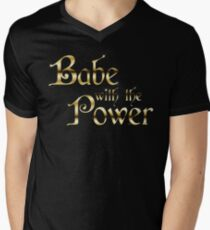 Labyrinth Babe With The Power (black bg) Men's V-Neck T-Shirt