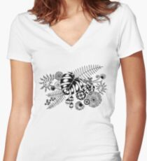 Tropical Leaves and Flowers Women's Fitted V-Neck T-Shirt