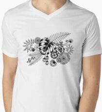 Tropical Leaves and Flowers Men's V-Neck T-Shirt