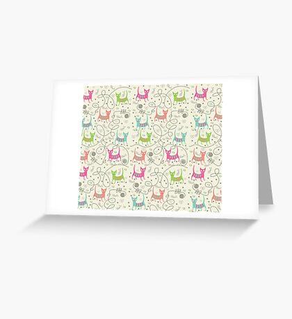 Cute Cartoon Style, Cats  Pattern Greeting Card