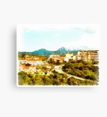 Arzachena: landscape with buildings Canvas Print