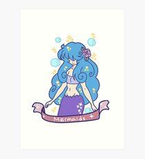 Blue-haired Mermaid Girl Art Print