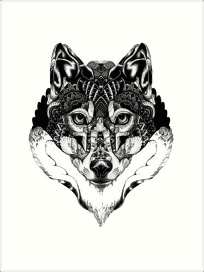 Láminas Artísticas Mandala De Lobo De Glitterdragon Redbubble