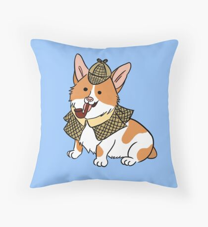 Sherlock Corgi  Throw Pillow
