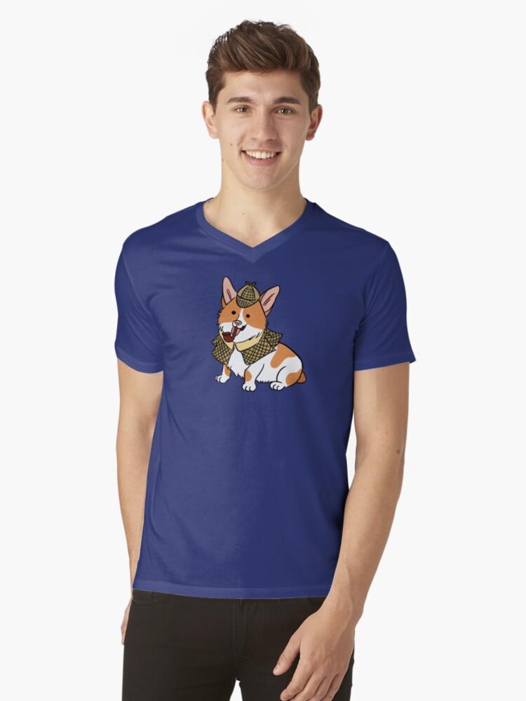 Sherlock Corgi  Mens V-Neck T-Shirt Front