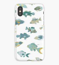 Fish - Coastal - Nautical pattern by Cecca Designs iPhone Case/Skin